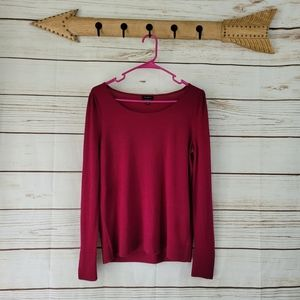 Talbots | Magenta Merino Wool w Pearl Button Accen